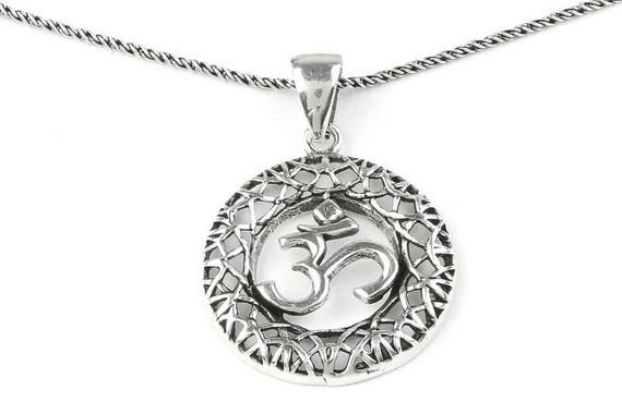 Sterling Silver Om Necklace, Yoga necklace, Meditation, Spirit, Festival, Hippie, Boho