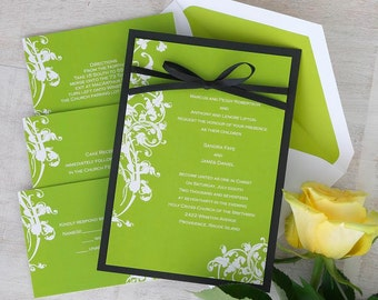 Venetian Romance Invitation - Vine Wedding Invitation Set with Ribbon  - Elegant Invitation Suite- Simple Wedding Invitations - AV1110
