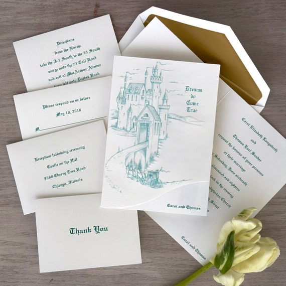 Storybook ending wedding invitations thermography invitation for A storybook ending bridal prom salon