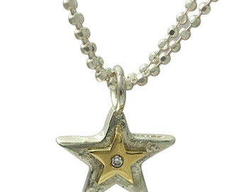 Mixed Metals Silver And Gold Diamond Set Star Necklace