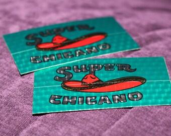 Super CHICANO Vintage 1980s Car Automobile Bumper Stickers Disco Ball Effect Bumper Stickers MEXICO