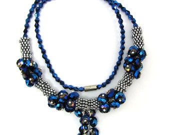 """Crystal silver plated daisy necklace 19"""" blue AB 11879"""