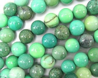 "8mm green chrysoprase round beads 15.5"" strand 35029"