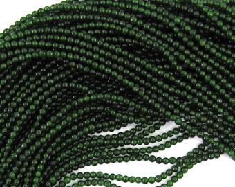 "2mm Canada green jade round beads 16"" strand S1 30376"