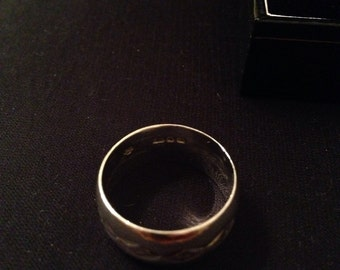 Wide engraved Sterling Silver band