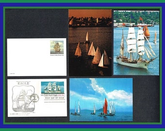 5 Sailing Ships on Cards