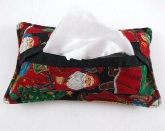 Santa Print Tissue Holder Pocket Tissue Holder Travel Tissue Holder Purse Handbag Tote Backpack Tissue Holder Gift Exchange Stocking Stuffer