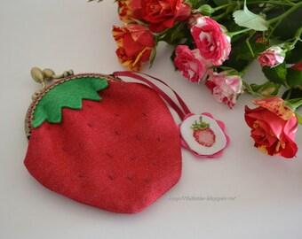 purse strawberry handmade clasp with embroidered suspension (Кошелек Клубника ручной работы с фермуаром с вышитой подвесочкой)