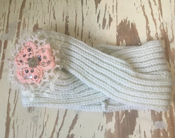 Ladies Knitted and Embellished  Earwarmer / Headwarmer in off white and pink