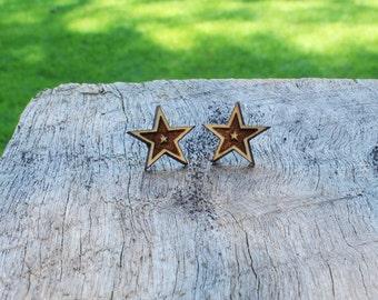 Star Timber Earrings