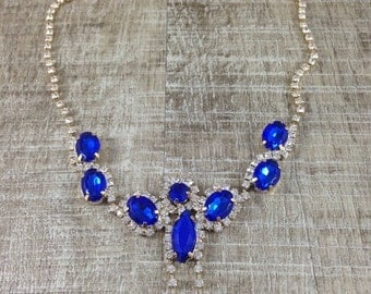 Stunning Vintage Style Sapphire Blue Clear Rhinestone Necklace