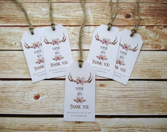 """20 x Personalised Wedding or Party  Favour Gift Tag """"Drink me"""" Boho tag - Rustic"""