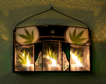 Stained Glass Wall Sconce for Candles with Leaves Pressed Between Glass Panes