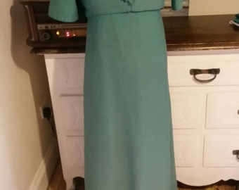 Clearence sale ...Emma Domb 1960s Emerald Green Maxi dress with Bolero small. Price reduction..