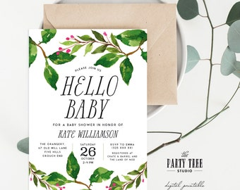 Printable Baby Shower Invitation , Hello Baby Leaves Invitation , Modern Baby Shower Invite , 5x7 , A6 , Gender Neutral Baby Shower
