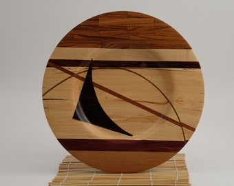 Multiple wood types turned plate by  Martin Fischer