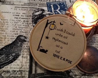 Pdf Edgar A. Poe Pattern for cross stitching,  I wish I could write as mysterious as a cat,  Cross stitch Primitive