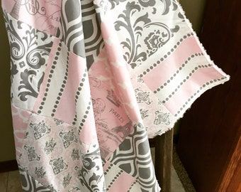 Pink & Gray Paris Baby Quilt