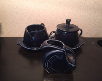 Fiesta tea set pitcher creamer tray cobalt blue vintage antique mid century cookware