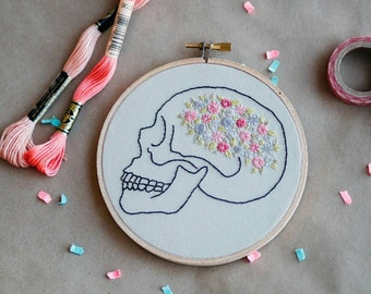 Hand Embroidered Floral Anatomical Skull