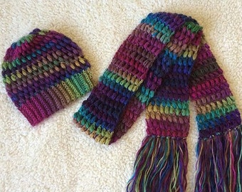 Crochet Puff Stitch Beanie and Scarf set