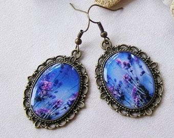 Blue Earrings Purple Earrings Dangle Earrings Jewelry Set Womens Gift Transparent Earrings Lilac Flowers Filigree Earrings Floral Jewellery