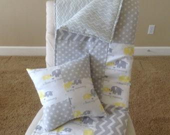 Baby Blankets/Neutral Baby Quilts/Grey Yellow Elephant/ Green Frog Baby Blanket