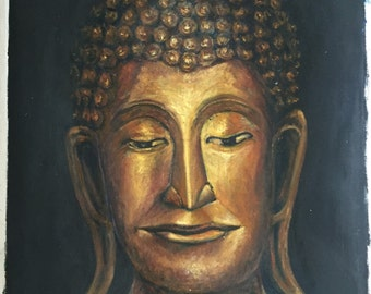 thai golden buddha oil painting