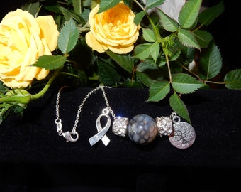 "AA+ Grade Dragon Vein Agate & Sterling Silver 18"" Brain Cancer Awareness Necklace"