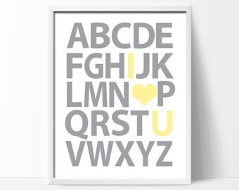 "Printable Alphabet Nursery Art Print. Yellow and Grey Alphabet Wall Art Print. 1-8x10"" Digital Instant Download - S142"