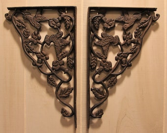 Cast Iron Shelf Brackets, Rustic Wrought Iron Hummingbird Design
