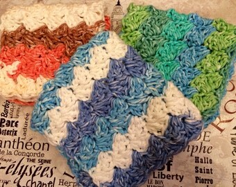 Crocheted Striped Cotton Wash Cloths