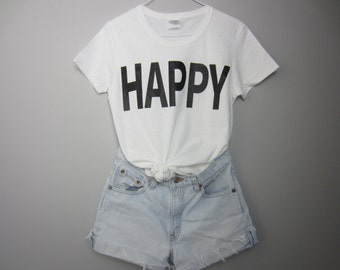 HAPPY Tee Women's Short Sleeve White Tshirt size S, M, or L