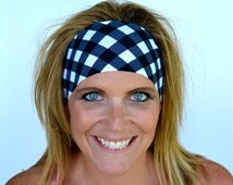 Running Headband Black White Gingham Yoga Headband Workout Headband Spandex Nurse Gift FREE Headband(s) Code BUY3GET1FREE or BUY6GET2FREE