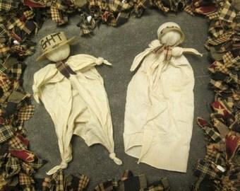 Handmade Primitive Hanky Knot Doll Set