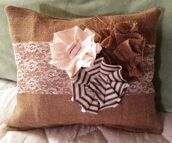 Shabby Chic Pillows On Etsy : Shabby Chic Burlap Pillow by NewfangledUpholstery on Etsy