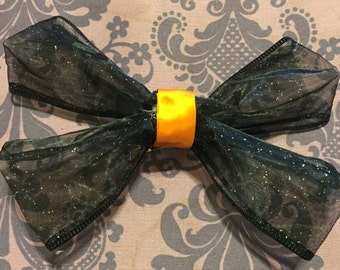 Halloween Black and Orange Bow w/ Clip