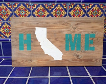 Handpainted, Relcaimed Wood HOME California Sign