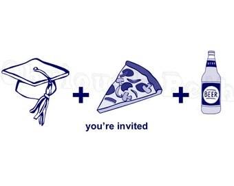 Pizza and Beer Graduation Invitation