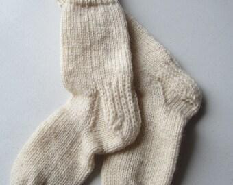 Knitted socks, white, beige/light brown ** SALE **