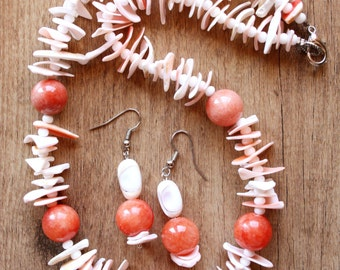 """Handmade necklace with earrings """"Summer continues"""""""
