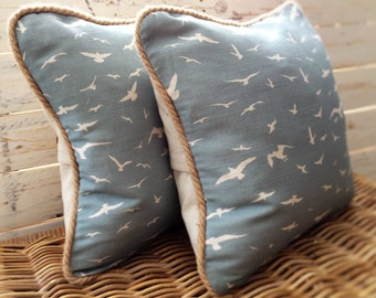 Handmade Seagulls Cushion, Peony and Sage Linen, Stone Blue, Coastal, Seaside, Jute Braid Trim, Vintage Inspired, Country Style