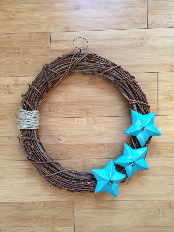Large Circle Star Wreath Wicker Wall Decor Blue Wood Stars
