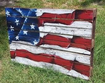 Beautiful custom made, hand painted American flag