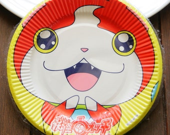 Made in Japan Yo-kai Watch paper plates dishes 15cm set of 7 Unopened Disposable New Party supplies
