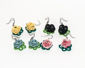 Earrings to tatting rose
