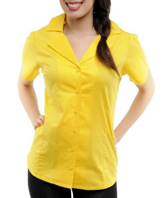 Yellow button up blouse black dressy blouses for Women s collared button up shirts