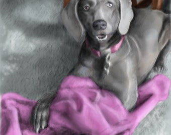 Pet Portraits digital painting from photograph made to order