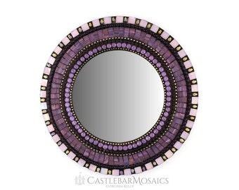 """Purple Mosaic Mirror 13"""" Round Mosaic Mirror Purple Lavender Mirror"""