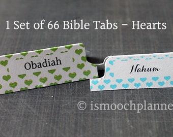 1 Set of 66 Bible Tabs - Hearts | Bible Journal | Scripture Dividers | Bible Tabs | Bible Journaling